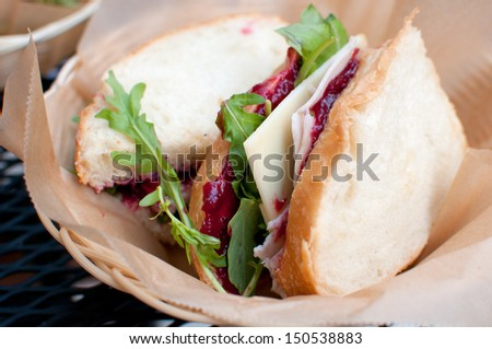 Smoked turkey and cranberry sauce sandwich with cheese - stock photo