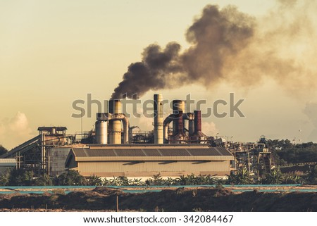 Smokestack in factory - stock photo