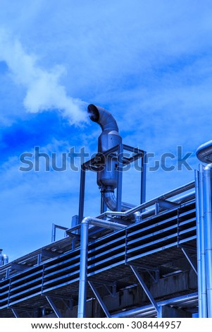 Smokestack plant refinery Industry tank petroleum and pipeline. - stock photo