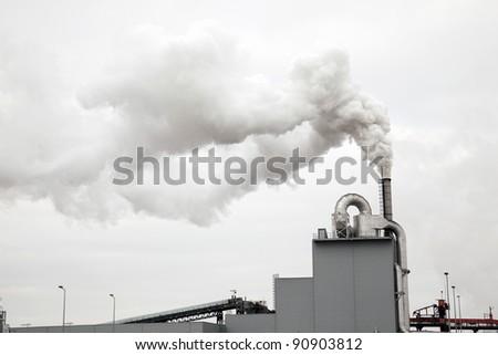 Smokestack with pollution - stock photo