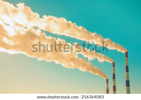 Smoking chimneys  - stock photo