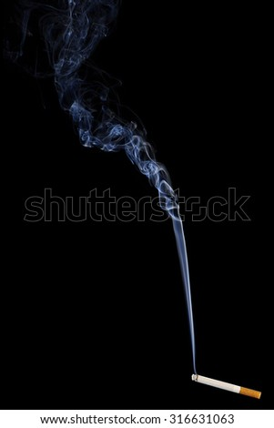 Smoking Cigarette isolated on Black Background. Close up with White Abstract Smoke. Copy Space for Text or Image - stock photo