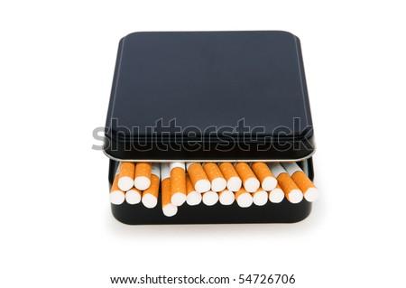 Smoking cigarettes isolated on the white background - stock photo