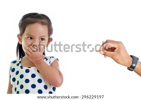 Smoking endangers the health of child, No smoking concept. - stock photo