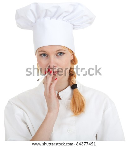 smoking female cook in white uniform and hat - stock photo