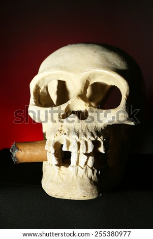Smoking human scull with cigar in his mouth on dark color background - stock photo
