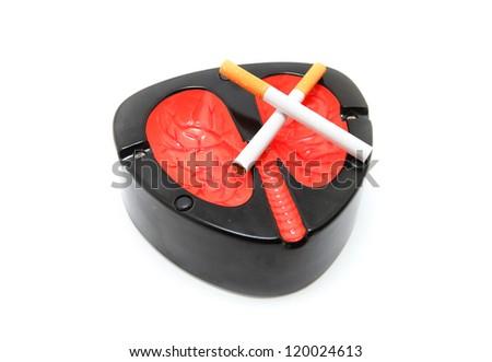 Smoking kills concept with Lung Ashtray - stock photo