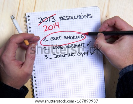 Smoking man Last Years New Year Resolution list failed - stock photo
