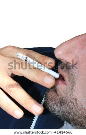 Smoking man on white background. - stock photo