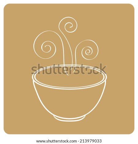 Smoking oriental soup bowl - stock photo