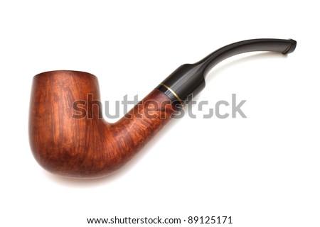 Smoking pipe, isolated on white background - stock photo