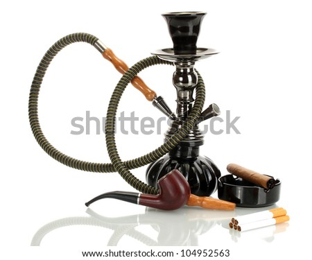 Smoking tools - a hookah, cigar, cigarette and pipe isolated on white background - stock photo