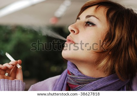 smoking woman - stock photo