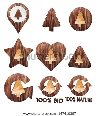 Smoky black  environmental nature 3d graphic with isolated abstract conifer icon set of wooden 3d buttons - stock photo