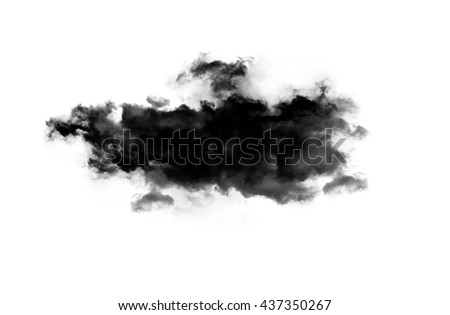 Smoky cloud isolated over white background. Inkblot on white paper - stock photo