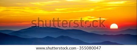 Smoky mountain sunset - stock photo