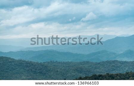 smoky mountains in blue ridge parkway - stock photo