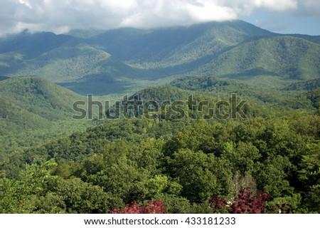 Smoky Mountains panorama. Great Smoky Mountains National Park, Tennessee - stock photo