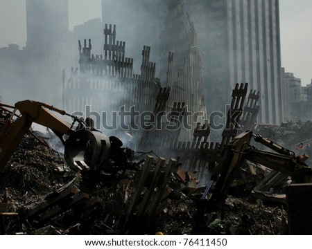 Smoldering, Ruins of NY WTC at Ground Zero on 9-18-2001 - stock photo
