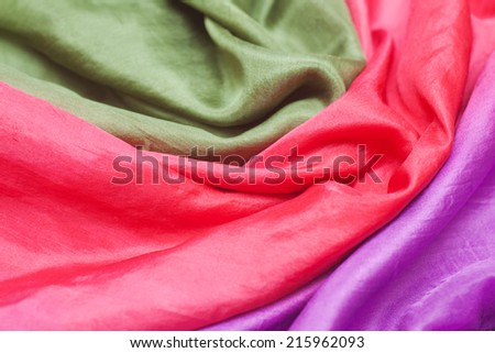 Smooth colorful silk scarf, background and texture - stock photo