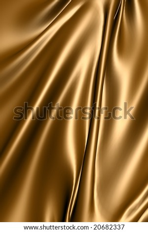 Smooth elegant gold silk fabric - stock photo