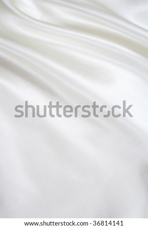 Smooth elegant white silk can use as background - stock photo