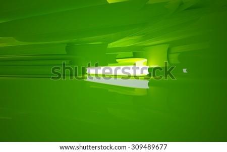Smooth green interior. 3D illustration. 3D rendering - stock photo