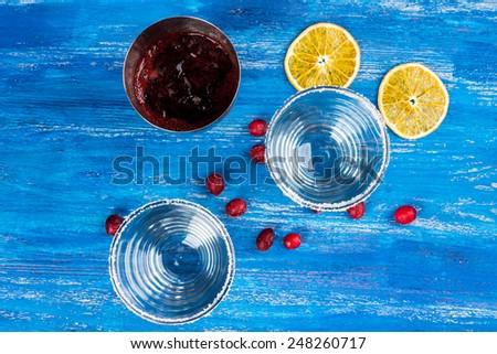 Smoothie - Fresh Berries topped with orange slice - stock photo