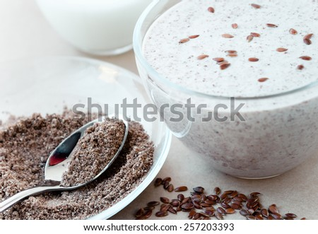 Smoothie with flax seeds - stock photo