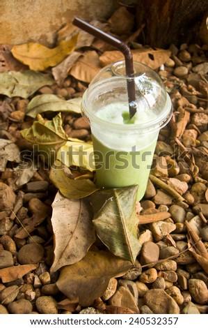 smoothies milk green tea latte in nature background - stock photo