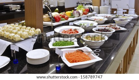 Smorgasbord - food choice in a restaurant. vegetables - stock photo