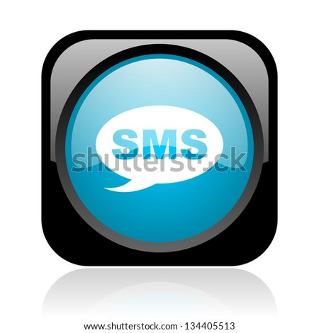 sms black and blue square web glossy icon - stock photo