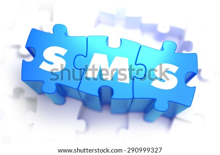 SMS - Short Message Service - Text on Blue Puzzles on White Background. 3D Render.  - stock photo