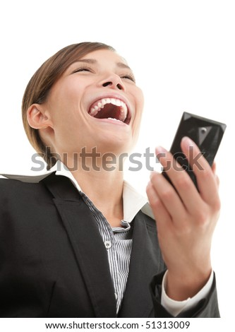 SMS woman getting funny text message on her mobile phone and is laughing. White background. - stock photo