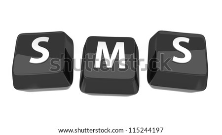 SMS written in white on black computer keys. 3d illustration. Isolated background. - stock photo
