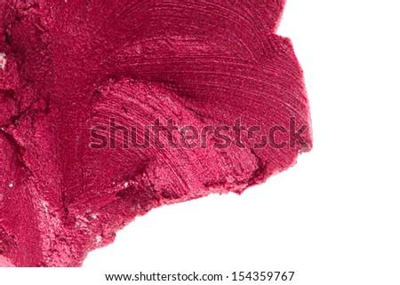 smudged lipsticks isolated on white background - stock photo