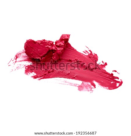 Smudged red lipstick over white background - stock photo