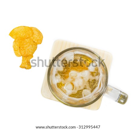 snack and beer in glass top view isolated background - stock photo