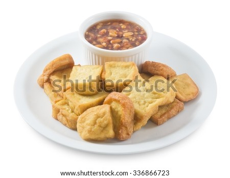 Snack and Dessert, Chinese Traditional Deep Fried Tofu or Fried Bean Curd Served with Sweet and Sour Spicy Sauce Isolated on White Background. - stock photo