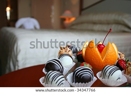 snack at five star hotel room - stock photo