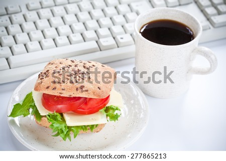 Snack at workplace - stock photo