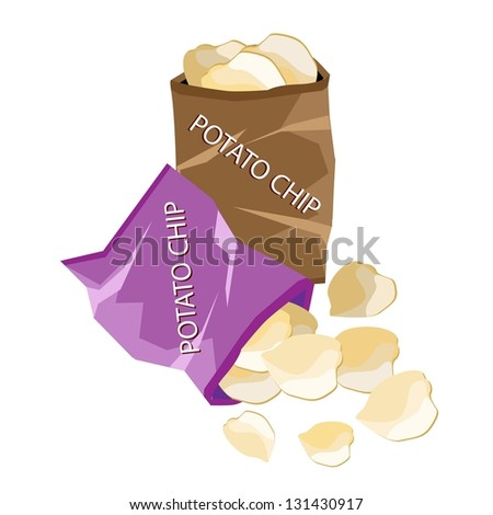 Snack Food, An Illustration of A Golden Potato Chips in Bag Isolated on A White Background - stock photo