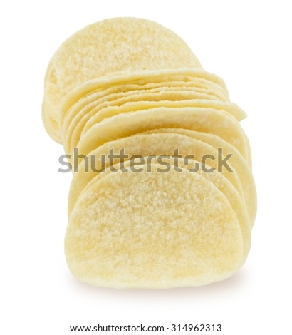 Snack Food, Delicious Potato Chips or Crisp Isolated on A White Background. - stock photo