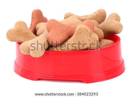 Snack food for dogs biscuits shaped as bone - stock photo