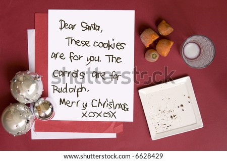 snack & letter for santa & rudolph - stock photo