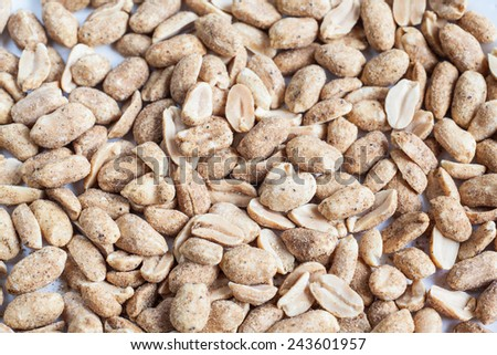 Snack: peanuts with pepper and salt - stock photo