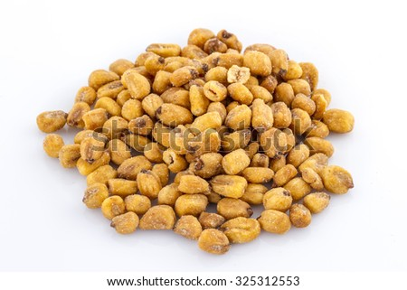snack toasted salted corn on a white background - stock photo