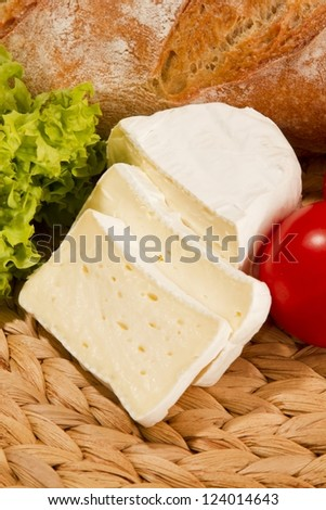 Snack with cheese and bred and tomato - stock photo