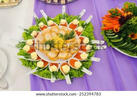 snacks caviar and toast - stock photo