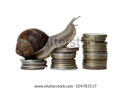 snail scrambles coins - stock photo